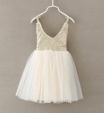 Новинка; лидер продаж; детское платье для малышей; белое кружевное платье-пачка на бретельках с золотыми блестками для вечеринки; одежда для...