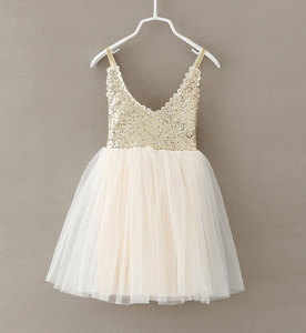 New Hot Children Baby Dress Gold Sequined Lace Sling White Tutu Dresses For Party Wedding Clothing Size 2-6Y vestido infantil(China)