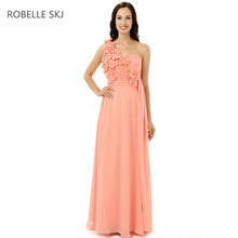 Real Photo One Shoulder Chiffon Coral Colored Bridesmaid Dresses Long Prom  Dress Junior Bridesmaid Dress with 6be27abecdf1