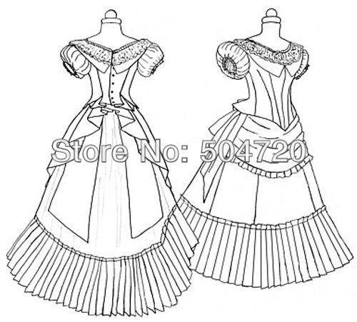 Livraison gratuite! 1860 s romantique blanc guerre civile sud Belle robe de bal victorienne/Scarlett Lolita robe US6-26 V-335