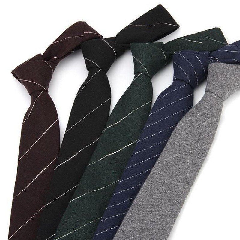 occupational tie for man 6cm skinny cotton necktie business formal suit neck ties strips plaid lawyer
