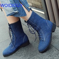 Shoes Women Boots jeans High Heels Denim Martin Boots Booties Mid calf Winter Snow Boots Booties botas mujer Female plus size