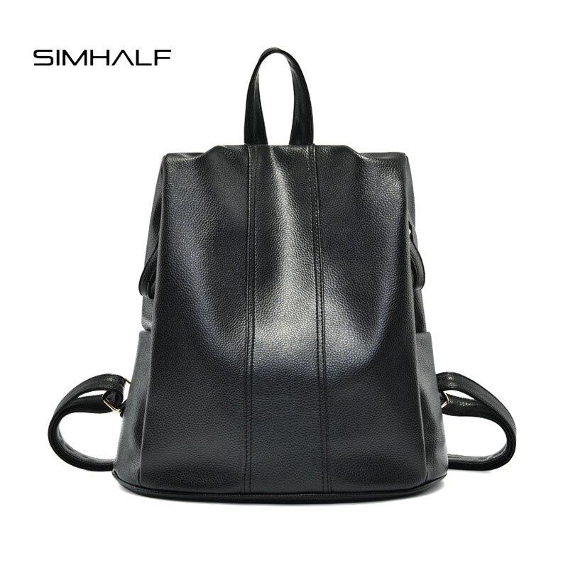 SIMHALF Brand solid women leather backpack black bag fashion school bags backpacks for teenage girls simple