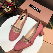 Loney New Fashion Brand Pink Black Genuine Leather Round Toe Women Summer Spring Pumps Slip On Crystal Star Thick Heel Sandals