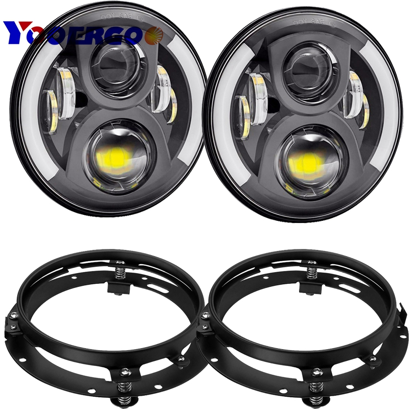 """7"""" Inch Round LED Halo Headlight  DRL angel with 7 inch bracket ring For Jeep Wrangler JK Hummer-in Car Light Assembly from Automobiles & Motorcycles    1"""
