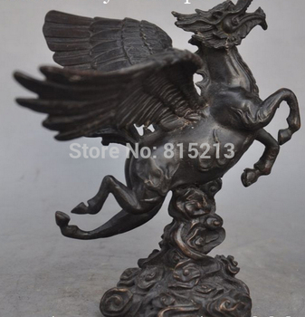 """bi001310 7"""" Chinese Copper Bronze FengShui Wealth Fly Wings Horse Success Lucky Statues"""