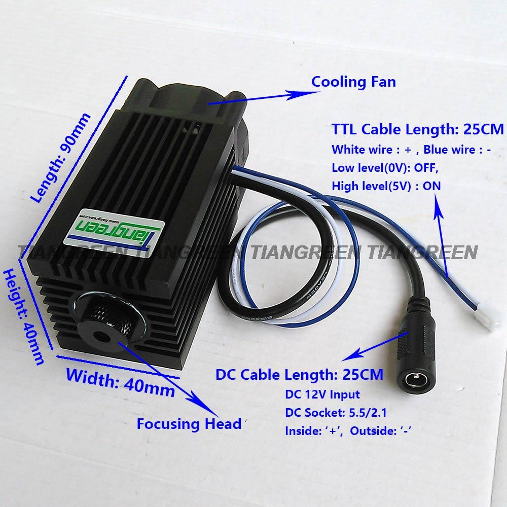 15W Blue Laser-Gravur Head Engraving Module 450nm Diode Wood Metal Lasergravur