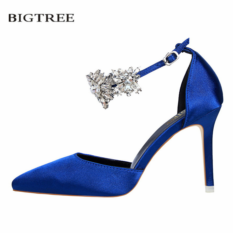 BIGTREE Summer Elegant Crystal Pumps European High Heel Shoes Satin Thin Heel Hollow Pointed Silk Sandals Buckle Lady G520-10 bigtree spring summer women pumps sweet bow knot high heeled shoes thin pink high heel shoes hollow pointed stiletto elegant 22