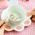 Cute cat cartoon Mug Set creative catlike milk breakfast cup ceramic cups and plates 150ml