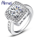 Rings for Women Fashion White CZ Diamond Jewerly Silver Plated Crystal Ring Anillos Female Vintage Wedding Party Anel Gift J394