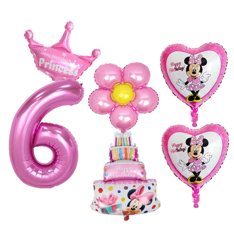 6pcs Kids 6 Years Old Happy Birthday Cake Balloon Set Number Foil Balloons For Baby Boy Girl 6th Decoration In Ballons Accessories