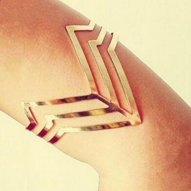 6f3f93190 Upper Arm Bracelet Gold Cuff Bangle Women Ladies Feminino Men Love Wide  Triangle Metal Manchette Brazalete Anchos Pulseras Mujer