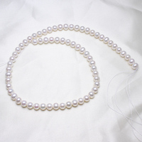 Potato Cultured Freshwater Pearl Beads,Exaggerated, natural, white, 6 7mm, Hole:Approx 0.8mm, Sold Per Approx 15.5 Inch Strand