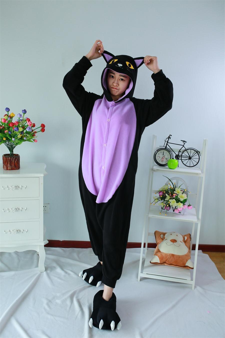 Midnight Cat Onesie Anime Cosplay Piyama Dewasa Hewan Kucing Hitam Onesie Pakaian Tidur Sleepsuit untuk Unisex