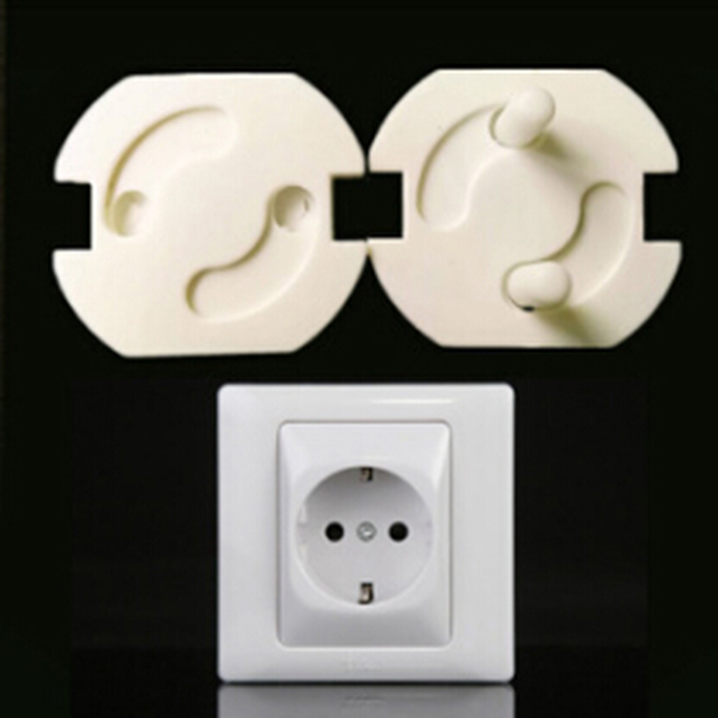 10pcs/pack 2 Hole Round Baby Safety Rotate Cover European Standard Children Against Electric Protection Socket Plastic Security