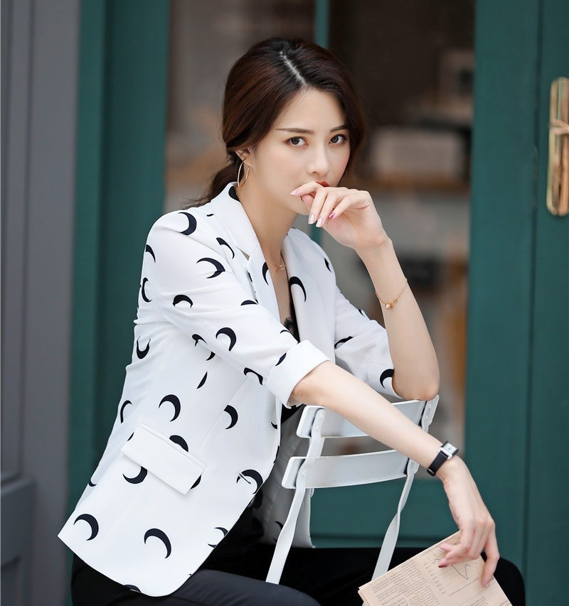 Fashion Printed Formal Women Business Blazers For Ladies Office Work Wear Jackets Coat Half Sleeve Blazer Outwear Tops Clothes
