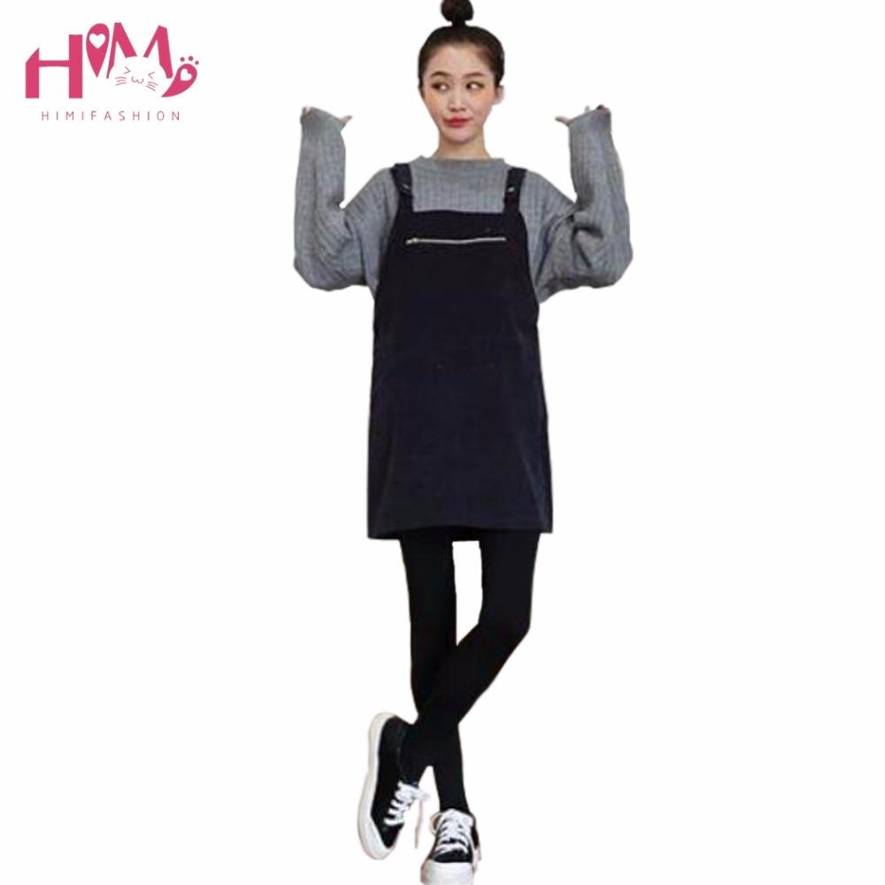 New Autumn Winter New Fashion Good Qulity Black Plaid Dress Women Korean Zipper Pocket Knitting Thicken Loose Suspender Dresses