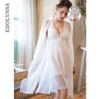 Sexy Robe Set Silk Dressing Gown White Lace Bathrobe Peignoir Sets Negligee Ladies Nighties Gown Women Set Sleep Clothes T209