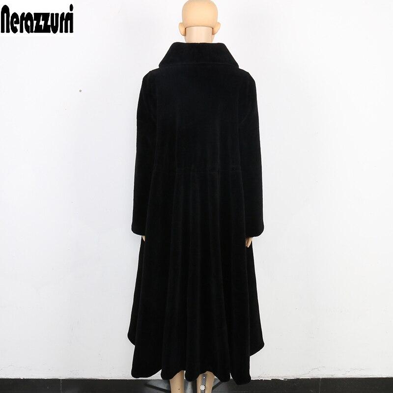 Nerazzurri Hiver Long Manteau De Fourrure Véritable Femmes Surdimensionné Plus La Taille 5xl 6xl 7xl Élégant Noir Jupe Mouton Mouton Manteau de fourrure