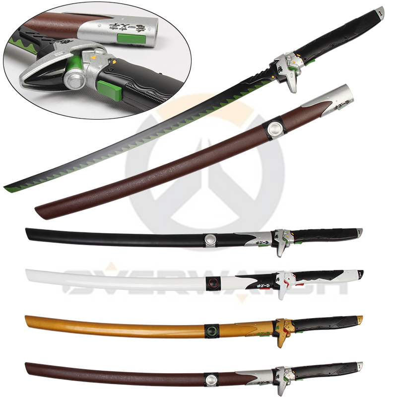 For Over Watch Cosplay Prop Genji Sword Wooden Scabbard Dragon Blade Steel Material Four Colors-Brown Skin DecorativeFor Over Watch Cosplay Prop Genji Sword Wooden Scabbard Dragon Blade Steel Material Four Colors-Brown Skin Decorative