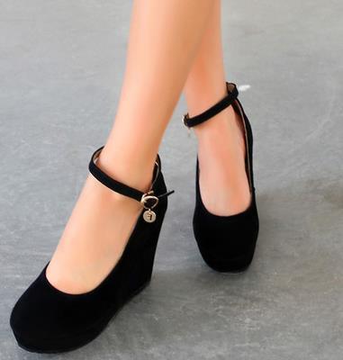ФОТО Autumn High Heel Platform Shoes Black Color Strap Wedges Shoe sys-731