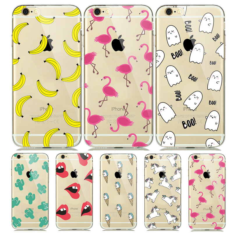 Funny <font><b>Cute</b></font> Flamingo Ghost <font><b>Case</b></font> for coque <font><b>iPhone</b></font> 7 8 Plus 6 6s 5 5s SE Soft Silicone <font><b>Case</b></font> Unicorn Fruit Banana Cover Fundas Girly image