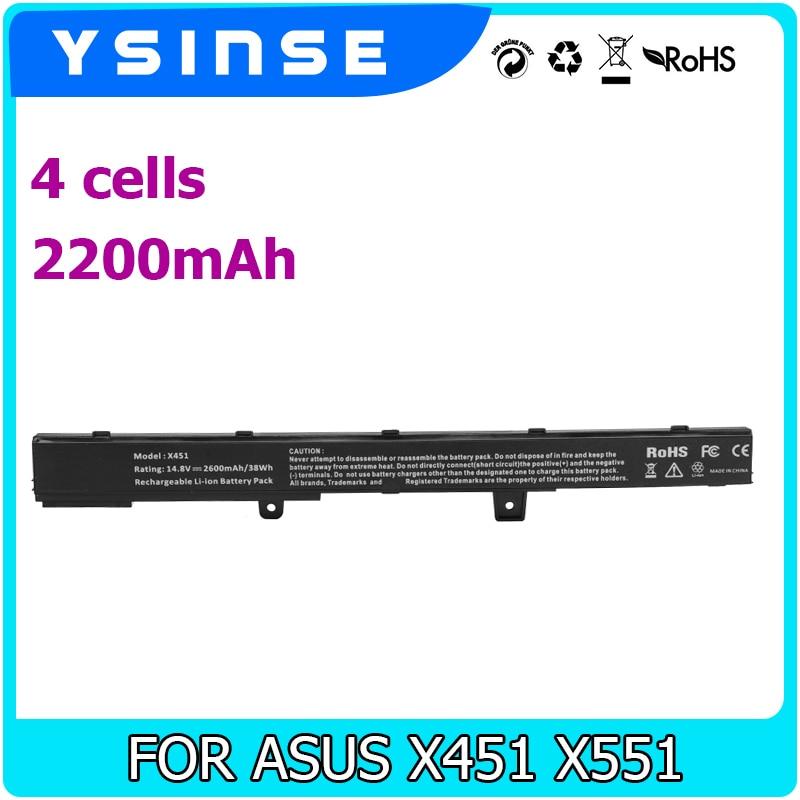 YSINSE A31N1319 X551M A41N1308 A31LJ91 0B110-00250100 Laptop Battery For ASUS X451 X551 X451C X451CA X551C X551CA D550 A41