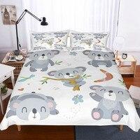 Fanaijia Kids Bedding Set Luxury Cute Koala Duvet Cover with Pillowcase Set Bed Children bed linen