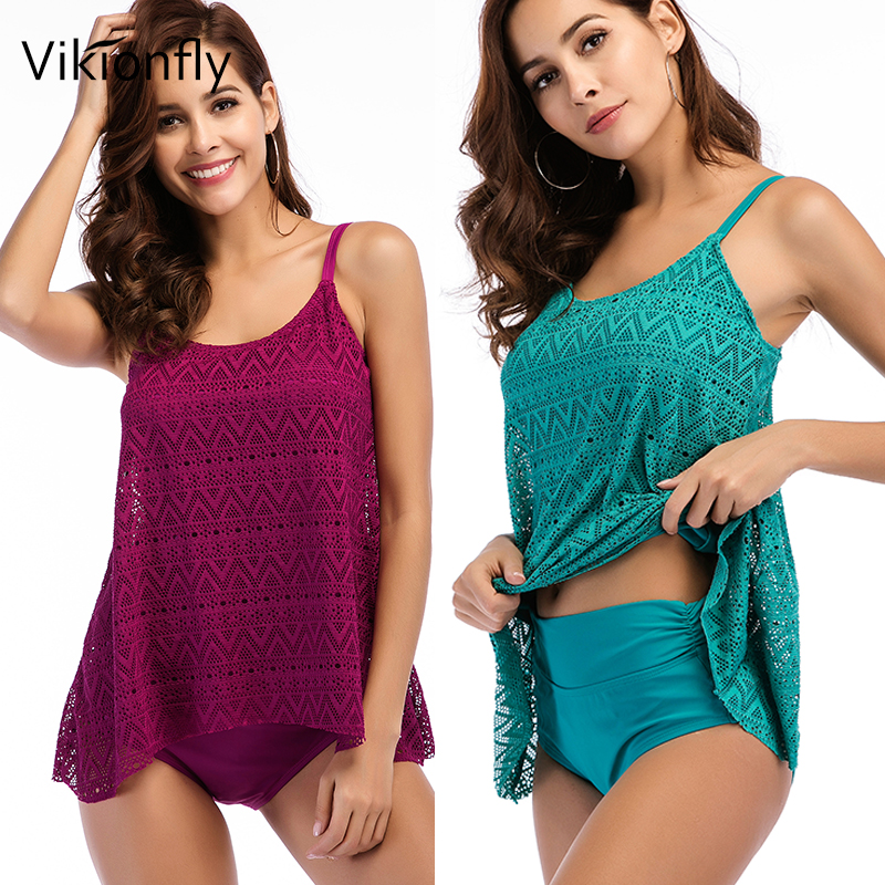 Vikionfly Super Plus Size Swimwear Women 2019 Two Piece Retro Swimsuit  Tankini Set High Waist Bathing Suit Swim Beach Dress