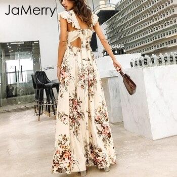 JaMerry 2018 V cuello volantes vestido largo Floral de las mujeres, boho maxi vestido verano primavera casual alta cintura vestido vestidos femme