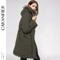 CARANFIER Women S Warm Plush Faux Fur Hooded Down Parkas Plus Cashmere Lined Parkas And Belt