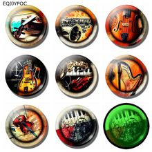 25mm 8pcs Rock Instrument Decoration Refrigerator Magnetic Stickers Luminous Keyboard Electric Guitar Pattern Fridge Magnet Set