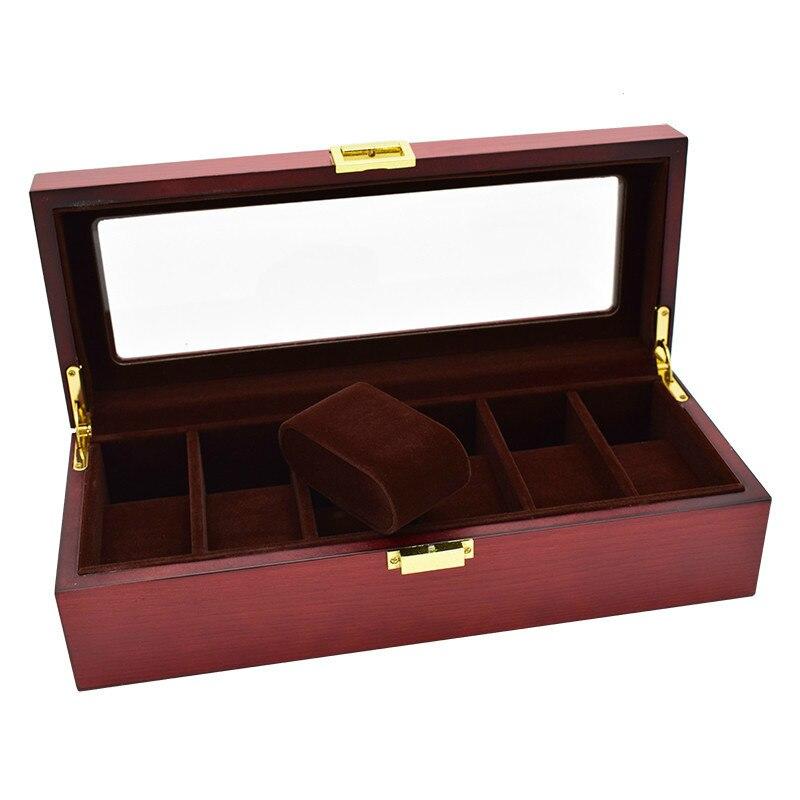 LISM luxe 6 grilles en bois montre boîtier Top qualité montre présentoir organisateur bijoux montres boîte Promotion cadeau titulaire
