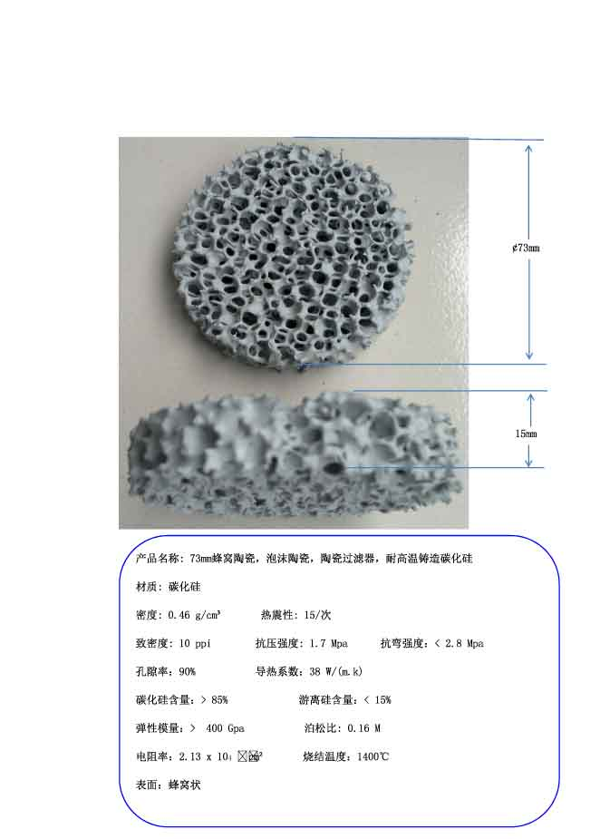 73mm Honeycomb Ceramic, Foam Ceramic, Ceramic Filter, High Temperature Resistant Cast Silicon Carbide ceramic