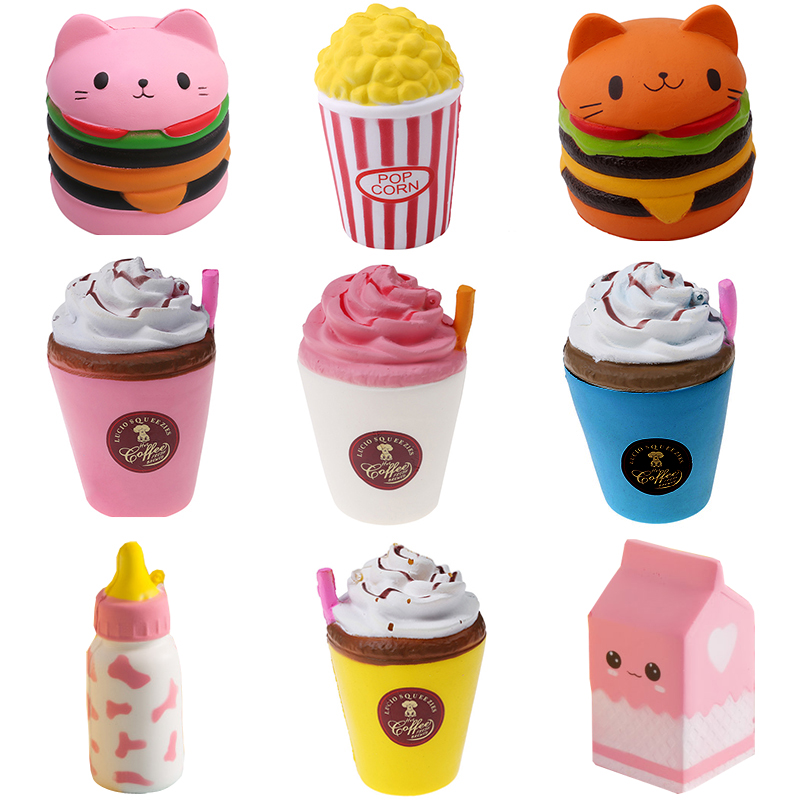 Squeeze Squishy Slow Rising Toys Cat Hamburger Fries ice cream food kawaii Jumbo squishies Anti stress Funny Toy Kids Adult Gift lps pet shop toys rare black little cat blue eyes animal models patrulla canina action figures kids toys gift cat free shipping