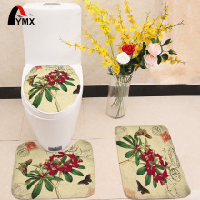 3pcs/set Romantic Flower Printing Toilet Seat Cover Flannel Fabric Toilet Case Bathroom Non-slip Mat Home Decoration Products pebble series flannel printing home anti slip absorbent entry mat bathroom mat door mat bedside mat