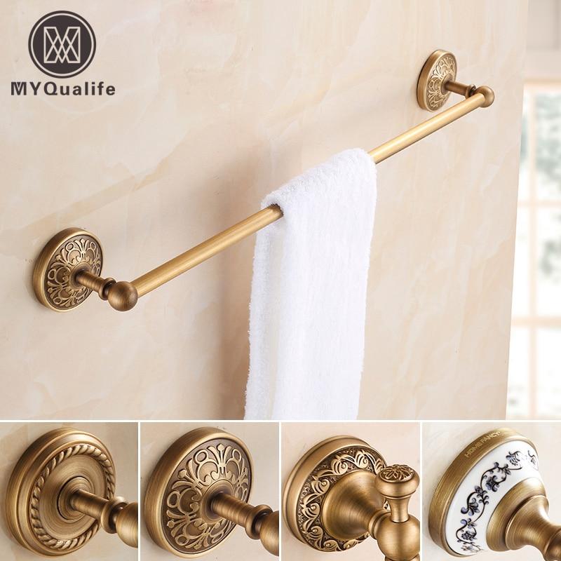 Good Quality Bathroom Single Rod Towel Bar Rack Towel Hanging Shelves High Antique Brass Free shipping стоимость