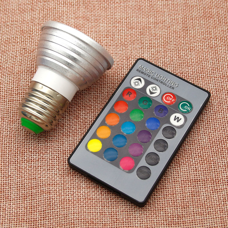 Rgb Télécommande V 24 Ir W Lumière 16 Pour 220 Ampoule Salon Clés À 110 Lustre Led 3 Lampe E27 Couleur L5R4jA