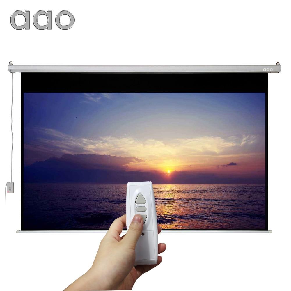 AAO 100 pollice 16:9 Grande Cinema Motorizzato Schermo di Proiezione 100 pollici Bianco Opaco 3D Proiettore Schermo Elettrico Con Telecomando