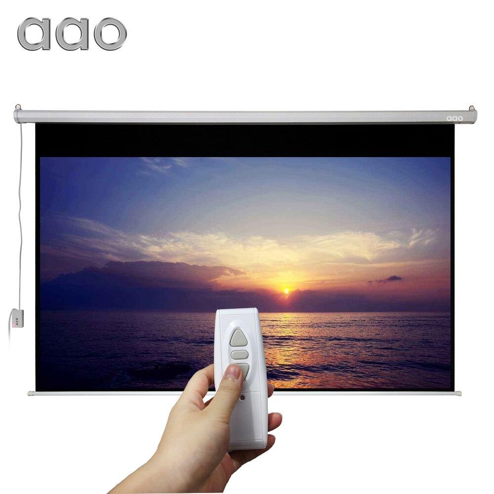 AAO 100 pouces 16:9 Grand Cinéma Écran De Projection Motorisé 100 pouces Mat Blanc 3D Projecteur Écran Électrique Avec Télécommande