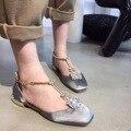 Мода Sexry Обувь для Женщин Т-ремень Лодыжки Ремень Горный Хрусталь Плоские Туфли Черный Красный Scarpe Донна Ди Marca