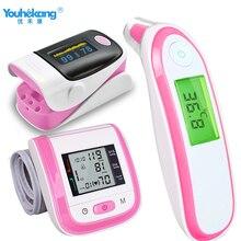 3 комплекта ухо/лоб инфракрасный термометр+ монитор артериального давления на руку+ Пальчиковый Пульсоксиметр Сфигмоманометр забота о здоровье для родителей