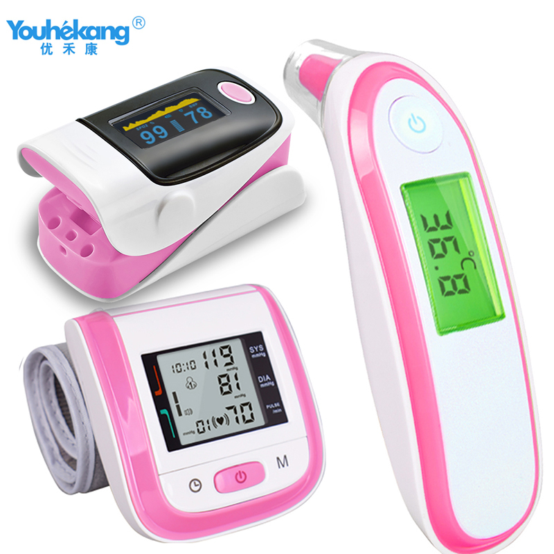 3sets Ear/Forehead Infrared Thermometer+Arm Blood Pressure Monitor+Finger Pulse Oximeter Sphygmomanometer Health Care For Parent