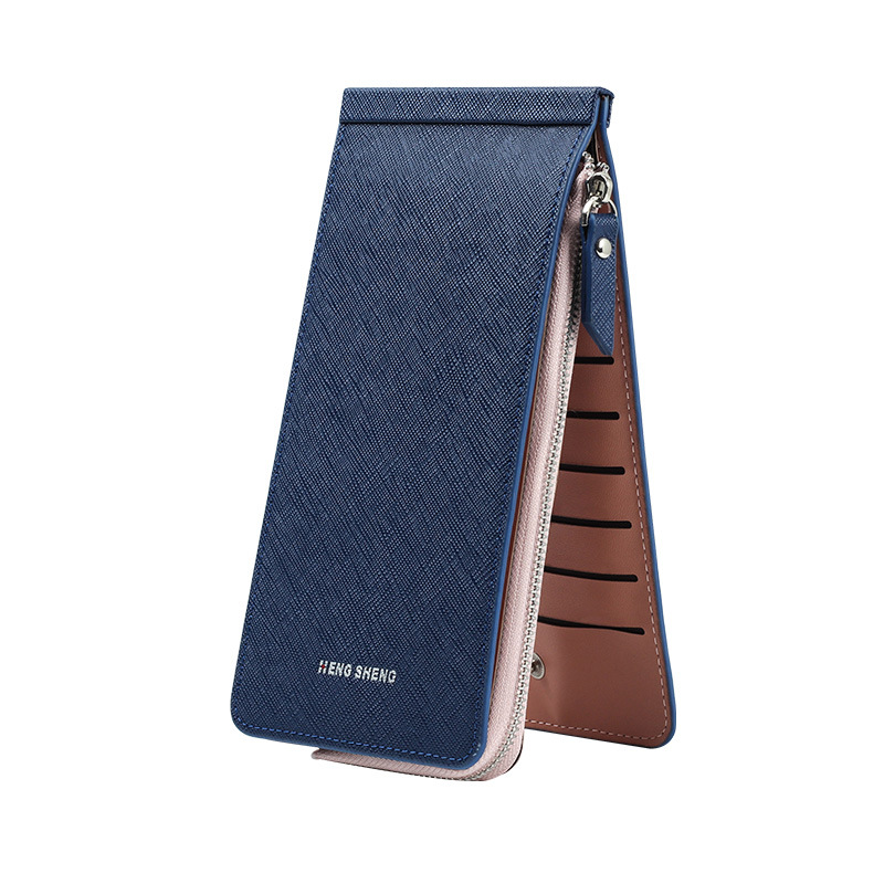 цена на Hot sale genuine leather women wallet new arrival brand colorful long coin purse card holder zipper clutch fashion design pocket