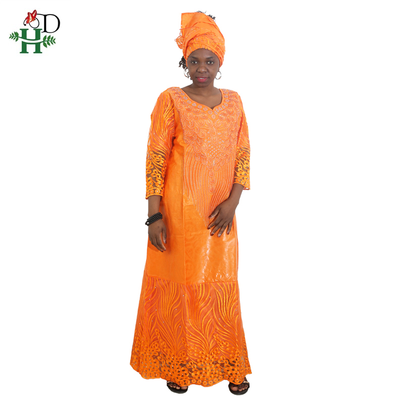 H&D african dresses for women african head wraps robe africaine beading lace bazin outfit dress african clothes south africa