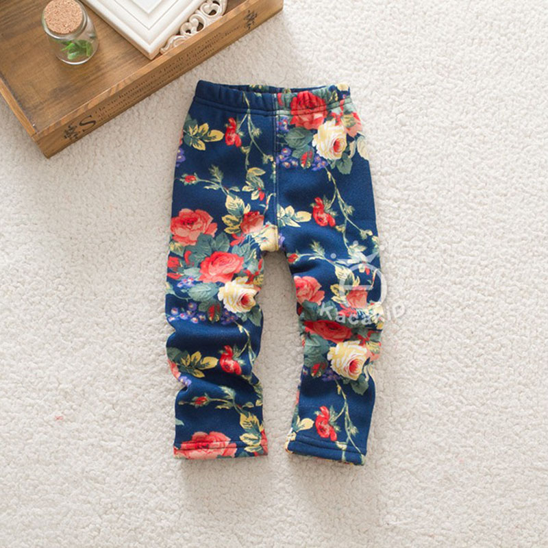 Girls Autumn Fashion Floral Pants Kids Warm Fleece Leggings Baby Girl Leggings Floral Print Pants yoga floral print ombre leggings