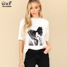 Dotfashion White Figure Print Mesh Bow Embellished Top Women 2019 Summer Casual T-Shirt Streetwear Fashion Short Sleeve Tee bow embellished lace yoke and cuff top