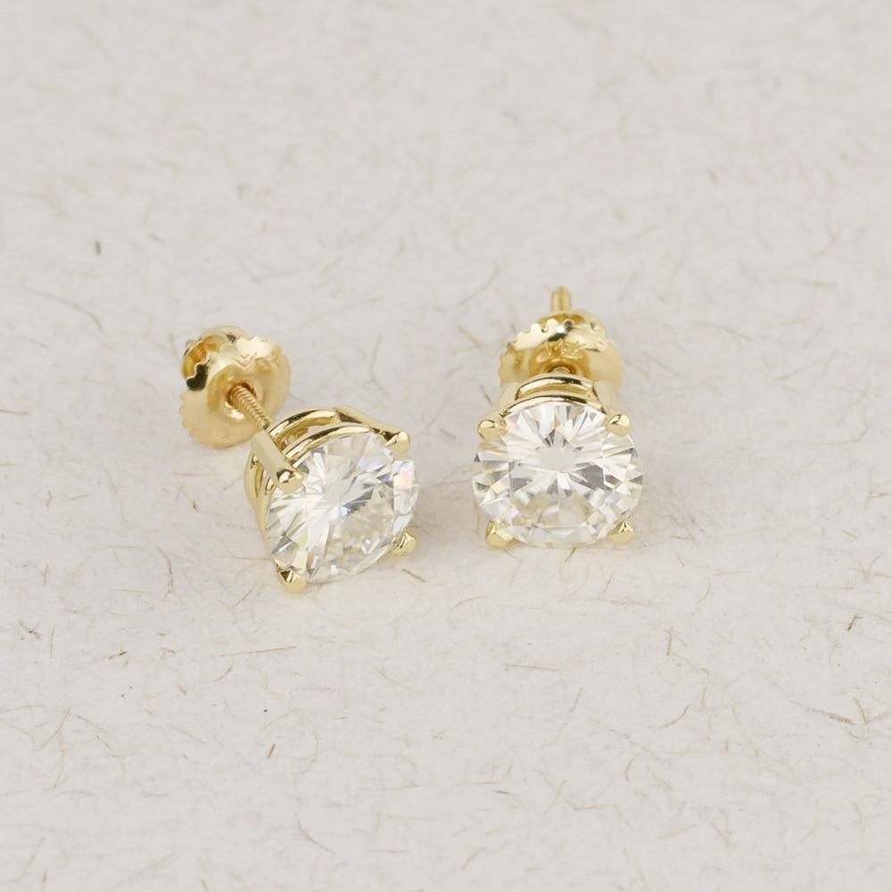 Genuine14K 585 Yellow Gold Screw Back 1 0Carat ctw Test Positive Lab Grown Moissanite Diamond Earrings