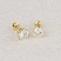 Genuine10K Gelb Gold Schraube Zurück 1,0 Carat ctw Test Positive Lab Grown Moissanite Diamant Ohrringe Für Frauen