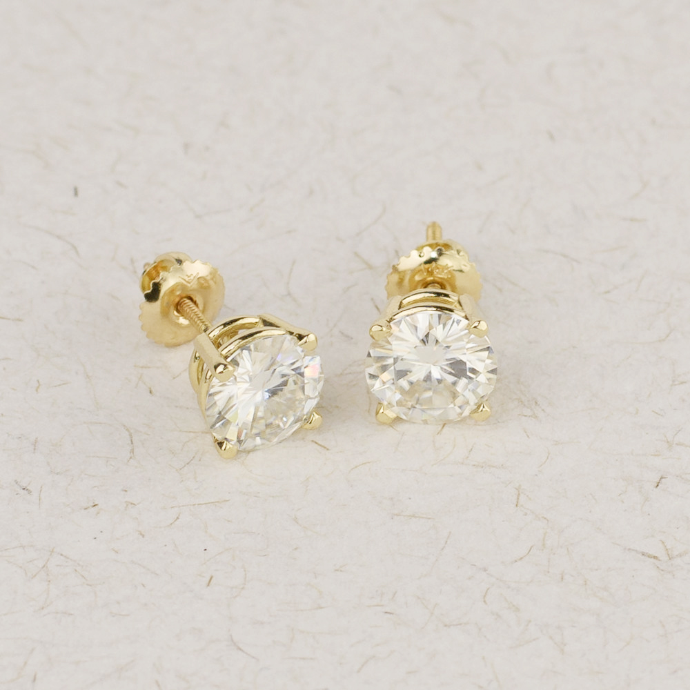 Genuine10K Yellow Gold Screw Back 1.0Carat Ctw Test Positive Lab Grown Moissanite Diamond Earrings For Women
